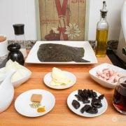 Rodaballo con salsa de vermut, beicon y pasas 2
